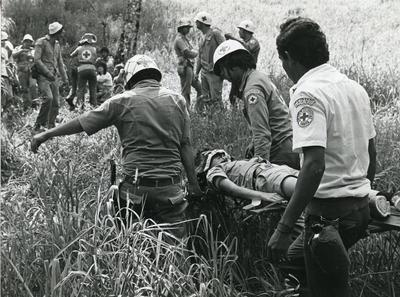 Black and white photograph for World Red Cross Day 1978 - The Costa Rica Red Cross disaster planning