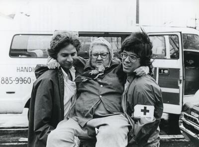 Black and white photograph for World Red Cross Day 1978 - American Red Cross Society after hurricane Carmen in Louisiana