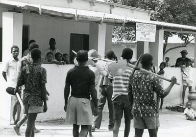 Black and white photograph for World Red Cross Day 1977 - Young First Aiders of the Tongolese Red Cross Society