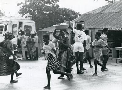 Black and white photograph for World Red Cross Day 1978 - volunteers in road safety in Ghana