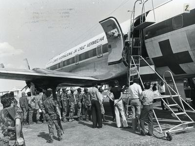 Black and white photograph of POW's in Angola 1975
