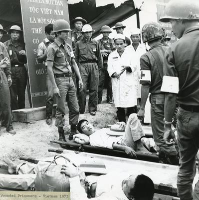 Black and white photograph of POW's in Vietnam