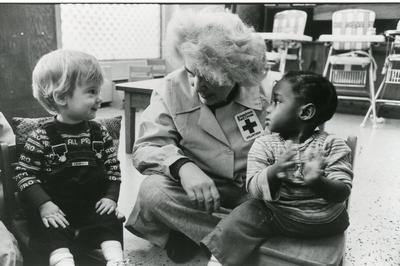 Black and white photograph for World Red Cross Day 1981 - American Red Cross Washington DC centre for disabled children