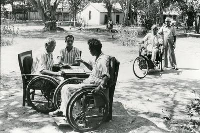 Black and white photograph for World Red Cross Day 1981 - Indian Red Cross home for disabled servicemen
