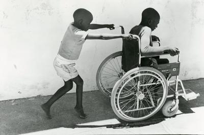 Black and white photograph for World Red Cross Day 1981 - Lesotho Red Cross Camp for disabled children