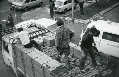 Black and white photograph of relief work following the Italian Earthquake of 1980