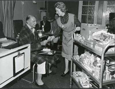 Black and white photograph of a hospital trolley shop