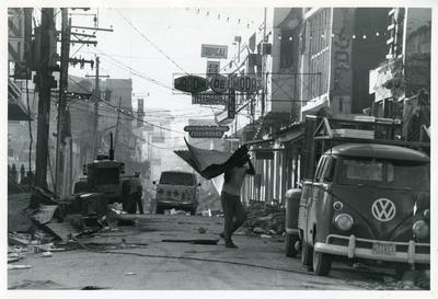 Black and white photograph of relief work after an earthquake in Nicaragua 1972