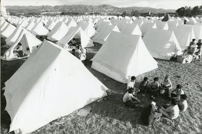 Black and white photograph of relief work after an earthquake in Guatemala 1976
