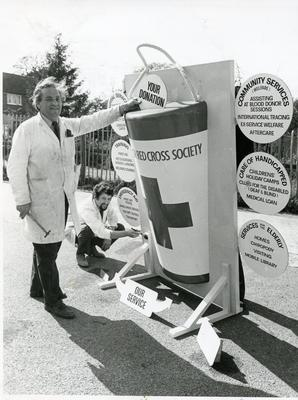 Black and white photograph of fundraising during Red Cross Week