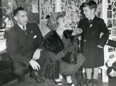 Black and white photograph of Disabled Men's Exhibition at Pimms 1950s