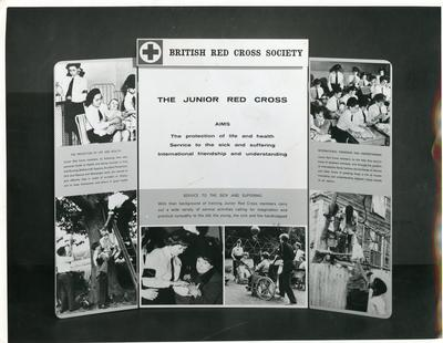 Black and white photograph of BRCS museum display panels 1960s