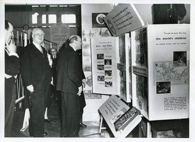 Black and white photograph of Opening of the Special Exhibition at BRCS NHQ 1951