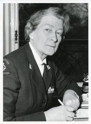 Black and white photograph of Joan Whittington, Director of Overseas Development