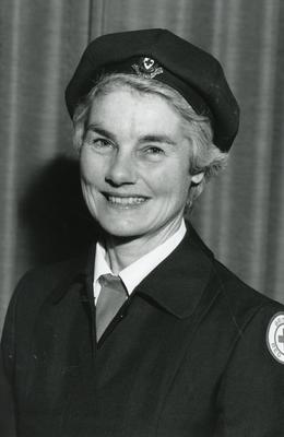 Black and white photograph of the Countess of Limerick, Chairman of the British Red Cross