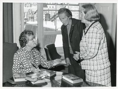 Black and white photograph of Florence Farmborough at her book signing 1974
