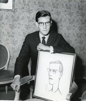 Black and white publicity photograph of Yves Saint Laurent in connection with the Christian Dior Show at Blenheim Palace 1954