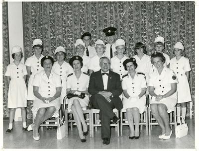 Black and white photograph of members of the Services Hospital Welfare Department at the British Military Hospital Dhekelia Cyprus