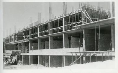 Black and white photograph of the British Military Hospital,Dhekelia, Cyprus during construction