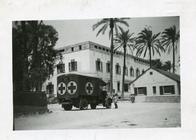 Black and white photograph of the British Military Hospital at Benghazi