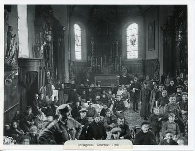Black and white photograph of refugees at Tournai during the First World War