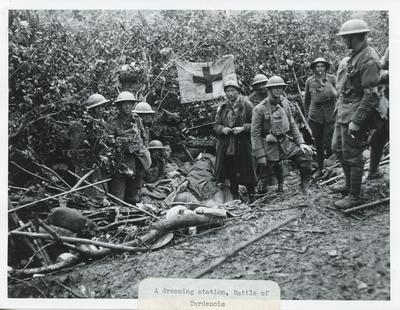 Black and white photograph of a dressing station at the Battle of Tardenois during the First World War