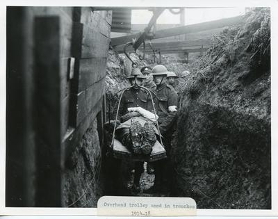 Black and white photograph of an overhead trolley used to evacuate the wounded from the trenches during the First World War