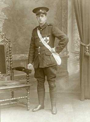 Black and white photograph of a male detachment member during the First World War