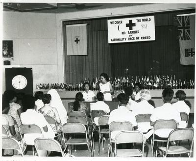 Black and white photograph of the Junior Red Cross in Fiji 1971