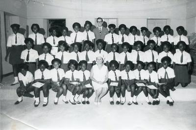 Black and white photograph of the Junior Red Cross in the British Virgin Islands