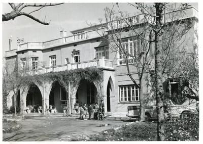 Black and white photograph of a children's home in Cyprus