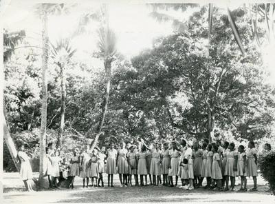 Black and white photograph of Dominica Junior Red Cross