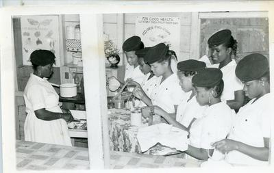 Black and white photograph of the Dominican Junior Red Cross