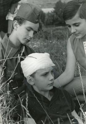 Black and white photograph of the East German Junior Red Cross