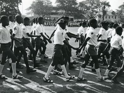 Black and white photograph of the Gambia Junior Red Cross 1970s