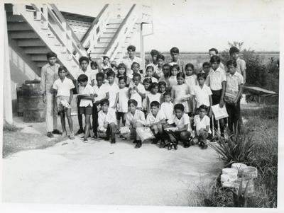 Black and white photograph of activities of the Guyana Red Cross