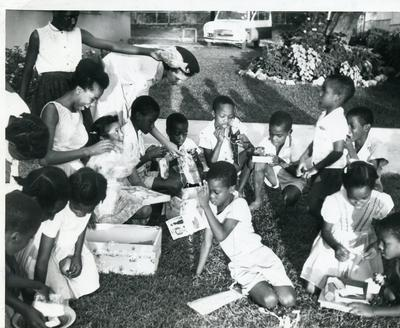 Black and white photograph of activities of the Jamaican Red Cross