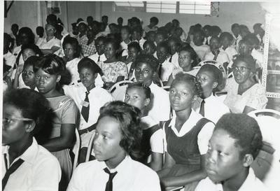 Black and white photograph of a Junior Red Cross training day at the Jamaican Red Cross