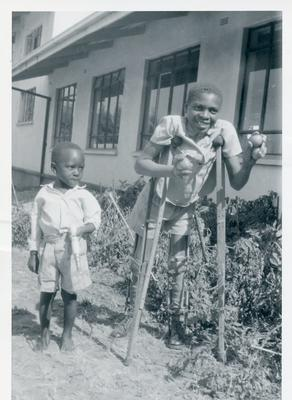 Black and white photograph of a disabled children's centre in Malawi