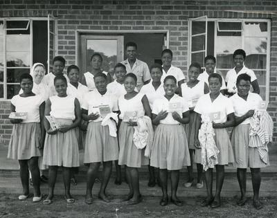 Black and white photograph of students from Marymount Secondary School in Malawi
