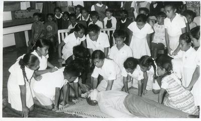 Black and white photograph of the Tongan Junior Red Cross