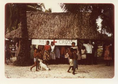 Colour photograph of a Red Cross stall in Tanawa