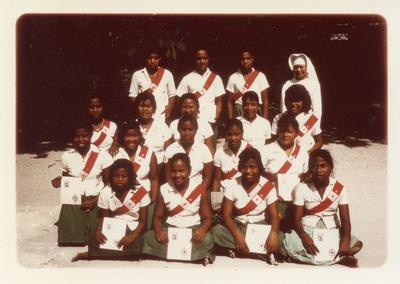 Colour photograph of the Junior Red Cross in Tanawa