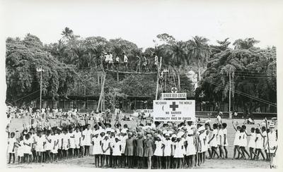 Black and white photograph of the Junior Red Cross commemorating Fiji Independence Day 1970