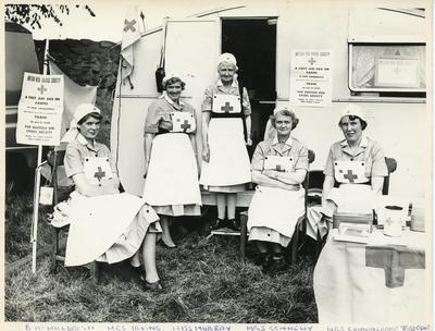 Black and white photograph of a first aid post at Wigtown Cattle Show