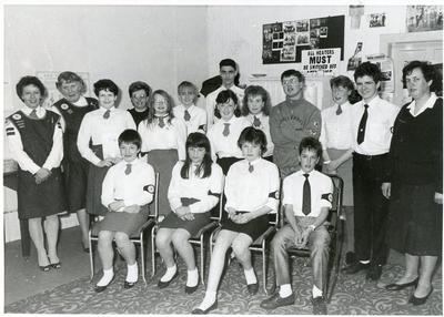 Black and white photograph of the Youth members of Newton Stewart group, Wigtownshire