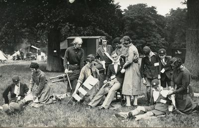 Black and white photograph of British Red Cross training