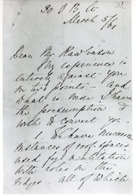 Black and white photograph of the first page of a letter from Florence Nightingale to Mr Rawlinson