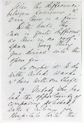 Black and white photograph of the third page of a letter from Florence Nightingale to Mr Rawlinson
