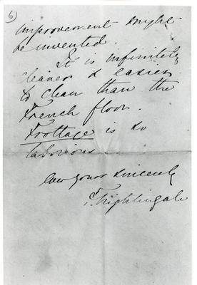 Black and white photograph of the sixth page of a letter from Florence Nightingale to Mr Rawlinson